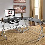 Wood L-Shape Corner Computer Workstation $75