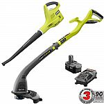 Ryobi 18-Volt Lithium-Ion Cordless String Trimmer/Edger and Blower/Sweeper Combo Kit $49