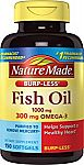 Nature Made Burp-less Fish Oil, 1000 Mg, 300 mg Omega-3, 150 Liquid Softgels $4.59 and more