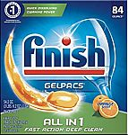 84 Tabs Finish All In 1 Gelpacs Dishwasher Detergent Tablets $8.97