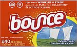 240 Ct. Bounce Outdoor Fresh Fabric Softener and Dryer Sheets $7.49