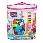 Mega Bloks Big Building Bag (80-pc Pink) $10.87
