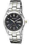 Seiko Men's SNE047 Two-Tone Solar Black Dial Watch $57