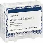 Insignia Assorted Batteries with Storage Box (33-Pack) $9