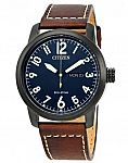 Citizen Eco-Drive Men's Chandler Watch w/ Brown Leather Strap $100