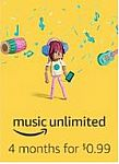 Amazon Music Unlimited, 4-month Subscription $0.99 (Prime required)