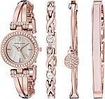 Anne Klein Women's Swarovski Crystal-Accented Rose Gold-Tone Bangle Watch and Bracelet Set $59.99 (org175)