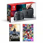 Nintendo Switch Legend of Zelda Breath of the Wild & Mario Kart 8 Deluxe Bundle $420