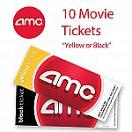 10 AMC movie tickets yellow $74.99, black $92.49