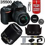 Nikon Refurbished D5500 24.2MP DSLR w/ 18-55 and 55-200 Lenses + Extended Warranty Kit $599