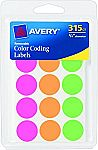 315-Count Avery Round Color Coding Labels $1