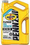 Pennzoil Platinum 5 quart 5W-20 Full Synthetic Motor Oil $9.64