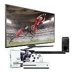 "Samsung 75"" 108th Birthday Package (Samsung 75"" un75mu6300 + Samsung Soundboard hwm450 + Xbox one S) $1999"