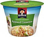 12-Pk Quaker Instant Oatmeal Cups (Apples/Cinnamon) $2.30