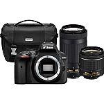 Nikon D3400 24.2MP DSLR Camera with 18-55 VR and 70-300m Lenses (Manufacturer Refurbished) $390