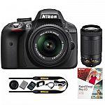 Nikon Refurbished D3300 24.2MP DSLR Camera Bundle with 18-55mm and 70-300mm VR Lenses $497