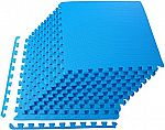 BalanceFrom Puzzle Exercise Mat with EVA Foam Interlocking Tiles 1/2 in Thick 48 sqft (Blue) $18.53 (54% Off)