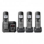 Panasonic Link2Cell Bluetooth Cordless Telephone with Digital Answering System (4 Handsets Included) $60