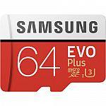 Samsung - EVO Plus 64GB microSDXC UHS-I Memory Card $19.99