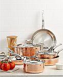 Lagostina Martellata Tri-ply Copper 10-Pc. Cookware Set + Bonus 3-Qt Casserole $280