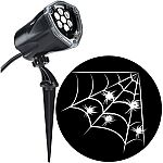 Halloween Lightshow Projection Plus-Whirl-a-Motion+Static-White Spider w/ Web $7.69 and more