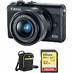 Canon M100 Mirrorless Digital Camera w/ 15-45mm Lens + Pro-100 Printer $359 after Rebate