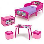 Disney 4-Piece Toddler Bed Bedroom Set with BONUS Fabric Toy Box $60 (Princess, Minnie or Mickey Mouse)
