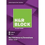H&R Block 2018 Deluxe Fed+State Win Download $18 and more