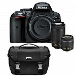Nikon D5300 DX-Format Digital 24.2 MP SLR Camera w/ Lens Bundle and Carrying Bag $497