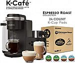 Keurig K-Cafe Single Serve Latte and Cappuccino Coffee Maker, and Espresso Roast K-Cup Pod Variety Pack, 24 Count $115