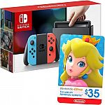 Nintendo Switch 32GB Console with Neon Red/Neon Blue Joy-Con Controllers + $35 Nintendo eShop Gift Card Package $299