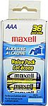 36-Pack Maxell AAA Alkaline Battery Pack $4.62