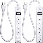 GE 2-Pack 6-Outlet Power Strip with 2ft Cord $6.50