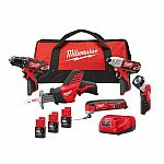 Milwaukee M12 12-Volt Li-Ion Cordless Combo Kit (5-Tool) W/ (3) 1.5Ah Batteries $199 (45% Off) and More