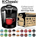 Keurig K55/K-Classic Coffee Maker + 40ct Variety Pack of K-Cups $70 (40% Off) and more