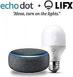 Echo Dot (3rd Gen) with LIFX Mini White (A19) Wi-Fi Smart Bulb $35, Echo Dot (3rd Gen) with with Philips Hue White Smart Light Bulb Starter Kit $70