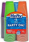 100 Count Hefty Party On Plastic Party Cups (Assorted Colors - 16 Ounce) $5 and more