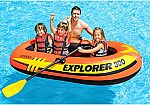 Intex Explorer 300, 3-Person Inflatable Boat Set with French Oars and High Output Air Pump $17 (65% Off)