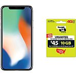 Straight Talk Apple iPhone X Bundle with $45 airtime plan $744