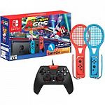 Nintendo Switch Mario Tennis Aces & 1-2-Switch Bundle with Bonus Ematic Tennis Rackets and Bonus Wired Controller $359