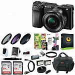 Sony a6000 Mirrorless Camera w/ 16-50mm Lens & Two 64GB SD Cards $438 and more