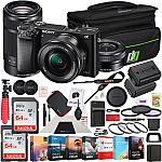 Sony a6000 Alpha Mirrorless Digital Camera 2 Lens Kit 16-50mm & 55-210mm Bundle $550, Sony a7 II Full-Frame Camera Bundle (body) $798
