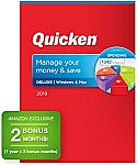 Quicken Deluxe 2019 Personal Finance Software 1-Year + 2 Bonus Months [PC/Mac Disc] $27.50