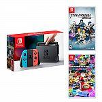 New Nintendo Switch Neon Blue&Red Joy-Con +Fire Emblem Warriors +Mario Kart 8 Deluxe $370