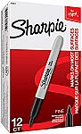 Sharpie Permanent Markers, Fine Point, Black, Box of 12 $4.16