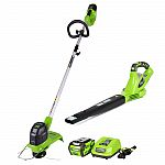 Greenworks STBO40B210 40V Blower-string trimmer combo $99