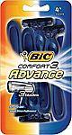 4-Pack BIC Comfort 3 Advance Men's Disposable Razor $2.37