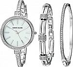 Anne Klein Women's AK/2847SVST Swarovski Crystal Accented Silver-Tone Watch and Bangle Set $50 (org $150)
