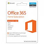 Microsoft Office 365 Home 2016 Subscription (5 users, PC/Mac Key Card) $59.99