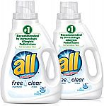 2-Count all Liquid Laundry Detergent 62 Total Loads $4.48